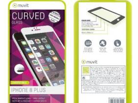 Protector pantalla Muvit Cristal templado  curvo blanco para iPhone 8 Plus